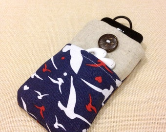 Seagulls handmade fabric iPhone sleeve, iPod touch case, Kindle case, smart cellphone cover, pouch, padded, tablet cover