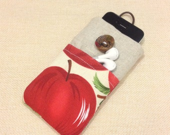 Cute red apples handmade fabric iPhone sleeve, iPod touch case, Kindle case, smart cellphone cover, pouch, padded
