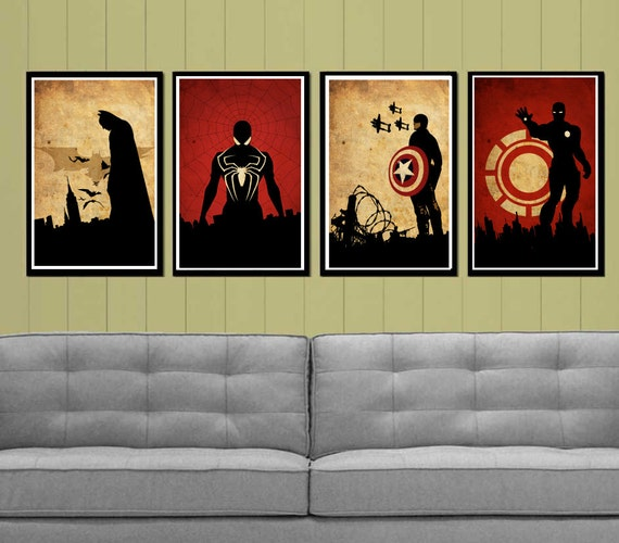 Captain America, Batman , Iron Man and Spider-Man Superheroes Poster Set