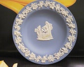 Wedgewood Jasperware Periwinkle Blue Small round Tray, Made in England