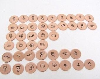 "1/2"" Design Stamped Copper Disc, Copper Charm, Pendant Charm, bracelet charms"