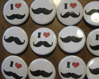 20 Pin Back Button Party Favors I heart  Mustache Party Theme 1.25 inch Buttons