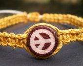 Mustard Hemp Bracelet With Brown Peace Symbol