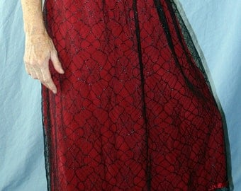 Handmade Red Silk and Black Spiderweb Lace Skirt size 10-12