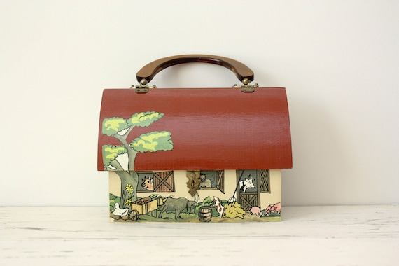 Vintage Colorful Wooden Purse - Barn Theme