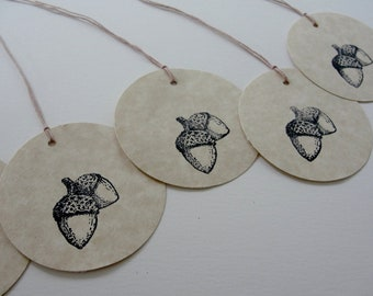 Autumn Fall Acorn Gift Tags, Hand Stamped Round Paper Cut Outs, Fall Birthday Shower Wedding Gift Tags, Set of 12