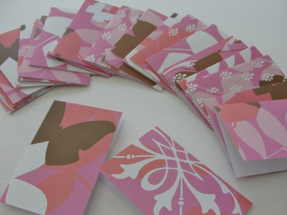 Mini Thank You Cards for shop owners, Summer Fun Gift Tags, Gift Enclosures, Tiny Notes, Pink Brown and White, Set of 24