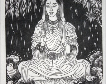 Thai traditional art of Guanyin by silkscreen printing on Natural colors cloth.