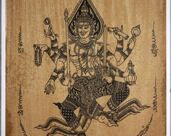 Thai traditional art of Brahma by printing on sepia paper