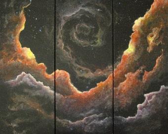 "Original acrylic painting ""Miriad"" (30""x30""), triptych"
