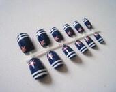 Hand painted fake nails - Marine stripes & starfish