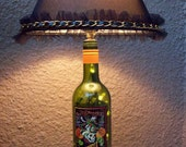 Wine Bottle Lamp and Nightlight with unique Lamp Shade