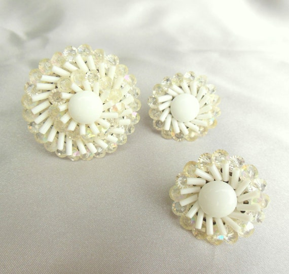 Vintage White Brooch and Earring Set marked West Germany