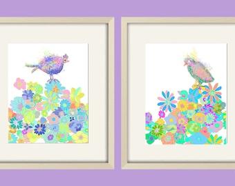 girl nursery decor baby girl nursery art love bird art nursery wall art love birds bird decor bird nursery art baby girl flower abstract art
