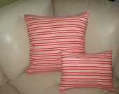 """12""""x16"""" Decorative Pillow Cover. Red & white striped pattern."""