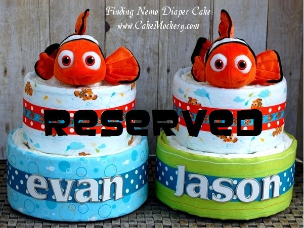 reserved for jehann finding nemo twins diaper cakes