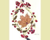 Collage Floral Art Luli 091- Pressed flower art- Collage art- autumn  leaves- Floral with  sequins,little plastic flowers