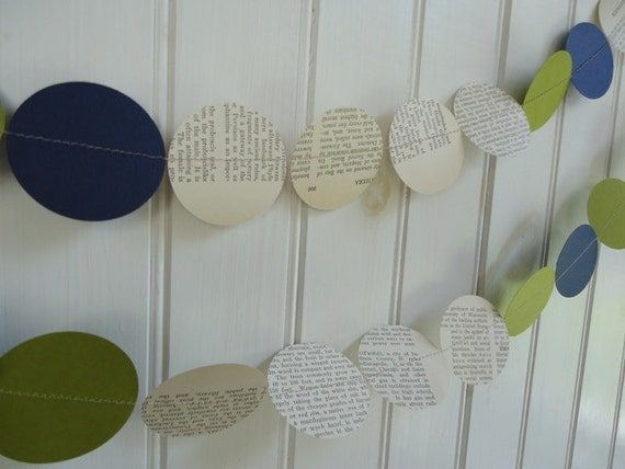 Wedding Garland Green and Blue Vintage Book Punched Paper Garland