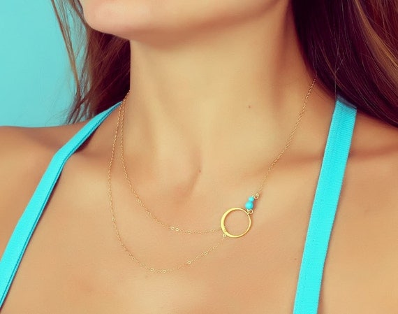 Turquoise necklace / Layered necklace / Gold necklace / Bridesmaid necklace / Double strand necklace / Silver circle necklace | Sinope