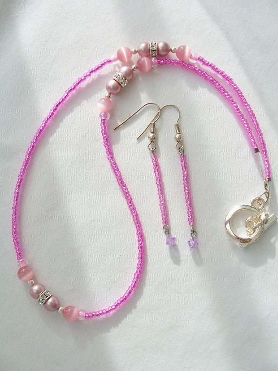 Hot pink and rose pink delicate necklace and earring set - pink jewelry set - pink dangling earrings - pink pearl beaded necklace