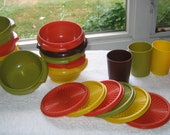 Vintage Tupperware With Lids Retro 70s Funky Colors