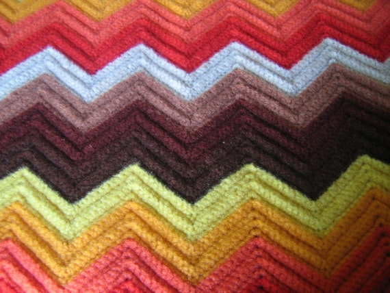 Vintage Afghan Chevron Funky 70s Colors