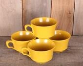 Vintage Set 4 Mustard Color Plastic Camping Mugs American Chemical