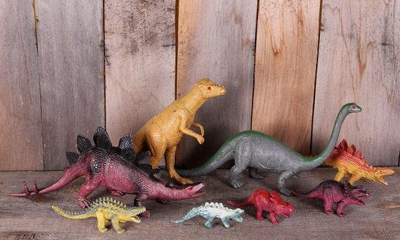 Lot 8 Vintage 1970s Rubber Plastic Toy Dinosaurs