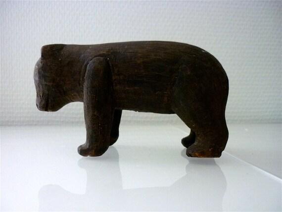 Grinning Little Bear, Rare Vintage Finland Carved Wood, Cub Detailed Black Scandinavian Woodland
