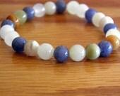 """Semi Precious Stretch Bracelet with Blue Aventurine and Italian """"Onyx"""""""