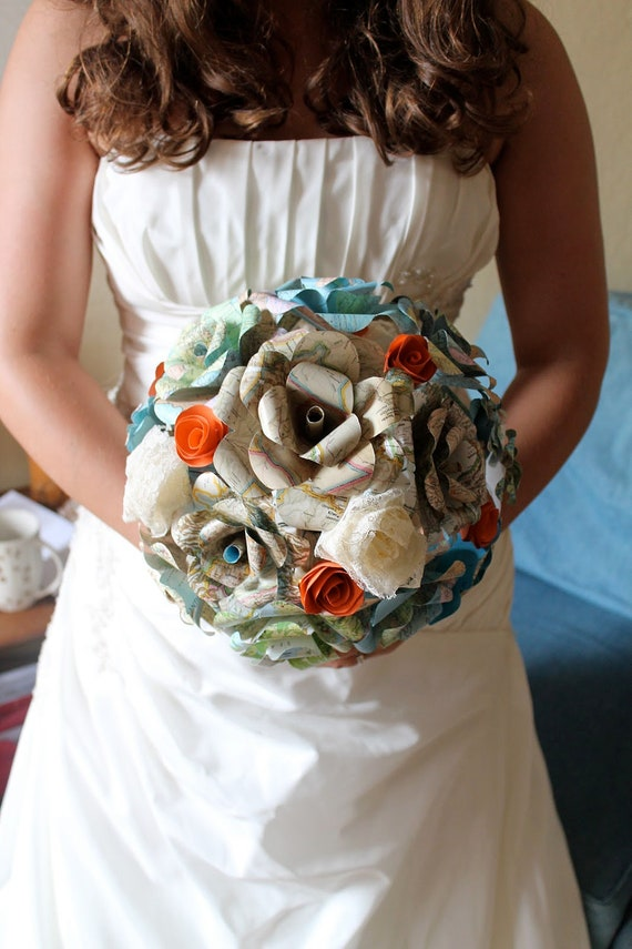 Map flower and colored paper flower bridal bouquet