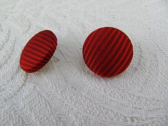 Repurposed Necktie Fabric Covered Button Earrings, Red