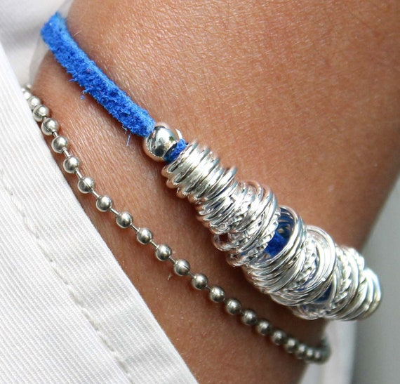 "SILVER Links Beaded Bracelet - Cobalt Blue Suede - Silver Chain - 7.75"" long - Toggle Clasp - Instant Shipping - Ref 242"