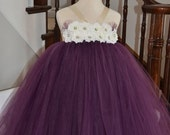 Elegant Eggplant Flower Girl Tutu Dress with Hydrangea Flowers - NB to 4T - Baby Doll Style Bodice - Perfect for Weddings and All Occasions