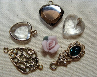 5 Small Pendants And A Rose Destash Supply