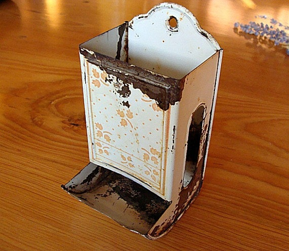 Vintage Match Box Dispenser White Rustic
