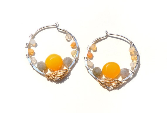 silver lotus earrings adorned with yellow chalcedony, labradorite and mexican fire opal - lili's nest