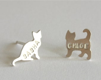 Personalized Cat Earrings, Cat stud, sterling silver