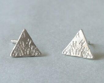 Personalized Triangle Earrings. sterling silver stud post earrings