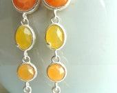 CLEARANCE SALE Citrus Clementine Orange and Lemon Yellow Silver Oval Charm  Dangle Jewel Earrings I 156