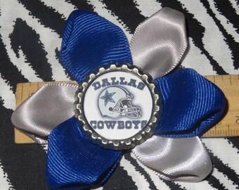 Sporty Bottlecap Football Dallas Cowboys Logo Hair Bow on Lined Alligator Clip