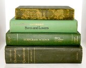 Green Vintage Book Bundle Bookshelf Collection Shabby Chic Decor Old Books Decorating