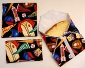 REUSABLE SANDWICH BAG, Snack Bag and Sandwich Wrap - Set of 3 - Baseball Stuff Design