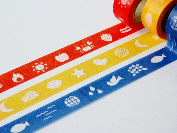 mt for kids - color 3 rolls : Japanese washi masking tape 15mm x 5m x 3 rolls - kawaii collage scrapbooking deco