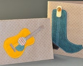 Gold Guitar & Blue Spruce Boot set of (2)