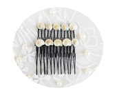 "Set of Sea Shell Hair Combs-Adorned with Assorted Tiny Pearl Sea Shells- Beach Wedding-""Mermaids Wedding"""