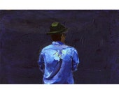 """original small acrylic painting, man with hat, acrylic on wood, 3.75"""" x 5.75"""" x 0.6"""" approx"""