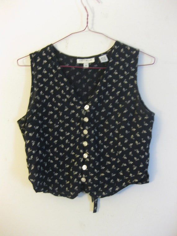 Navy Crop Top Blouse with Button Front and Fanfare Print
