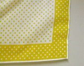"""AKV: 25% OFF Adorable Vivid Yellow and White Polka Dotted 26"""" Square Scarf Made in Japan"""