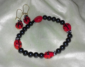 children's ladybug bracelet & earrings